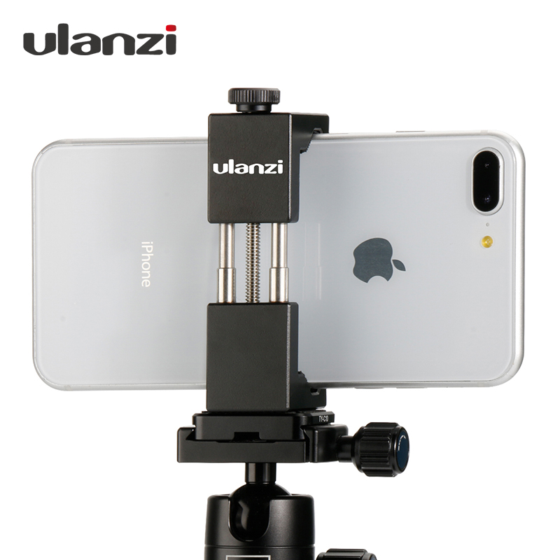 Ulanzi IRON MAN Smartphone Tripod Mount Universal Aluminium Metal Phone Tripod Adapter Holder Stativ til iPhone X 8 7 pluss Samsung