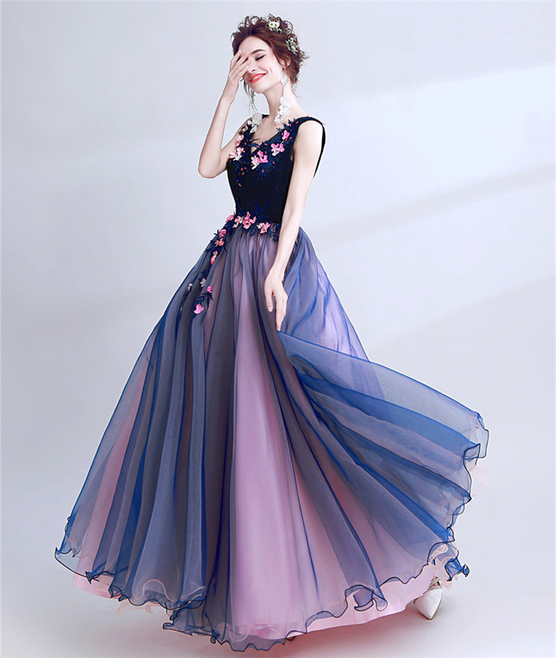 Purple Ball Gown V-neck 3D Flowers Appliques Pearls Elegant Long Elegant Evening Dresses Bride Banquet Party Prom Dress XK58