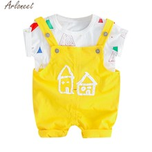 ARLONEET Toddler Baby Kids Boys Girls T-shirt Tops Overall Pants Casual Outfits Set Soft Hand Feeling 19Apr6 P35(China)