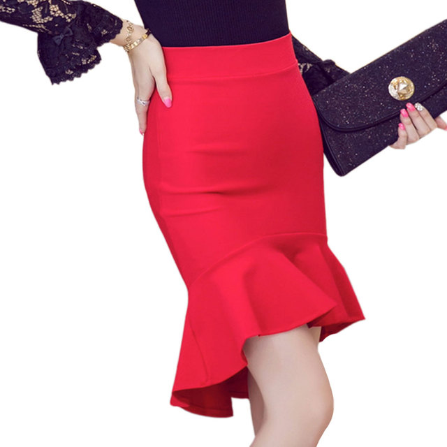 79b06f4cbc 2015 European Style Irregular Flounced Skirt Black Red Slim Sexy High Waist  Skirts Women Vestidos Christmas Party Skirts S-5XL