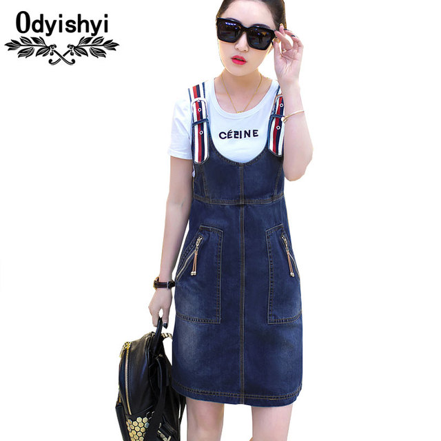 536279f7cfaf Denim Dress 2019 Women Summer Plus Size Loose sarafan Jeans Dress Strap  Denim Sundress Denim Overall Dress Female Vestidos HS194