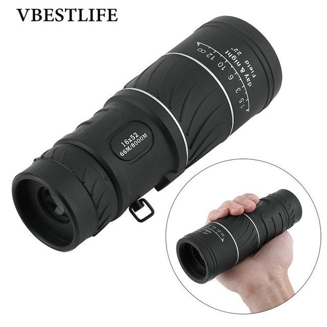 VBESTLIFE Preto 16x52 HD Telescópio Monocular de Foco Low Light Night Vision Sports Caça Camping Kit