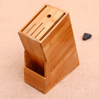 New link Wood Kitchen Knife Holder Multifunctional Storage Rack Tool Holder Bamboo Knife Block Stand Kitchen Accessories D5