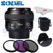 Camera lens YONGNUO YN50mm F1.8 AF Aperture Auto Focus lens+58mm UV CPL FLD Lens