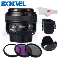 Camera lens YONGNUO YN50mm F1.8 AF Aperture Auto Focus lens+58mm UV CPL FLD Lens Filter+ Bag+Lens Hood for Nikon camera