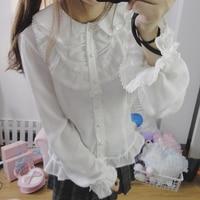 Autumn Spring Elegant Women White Peter Pan Collar Shirt Cute Girl All Match Preppy Style Lolita