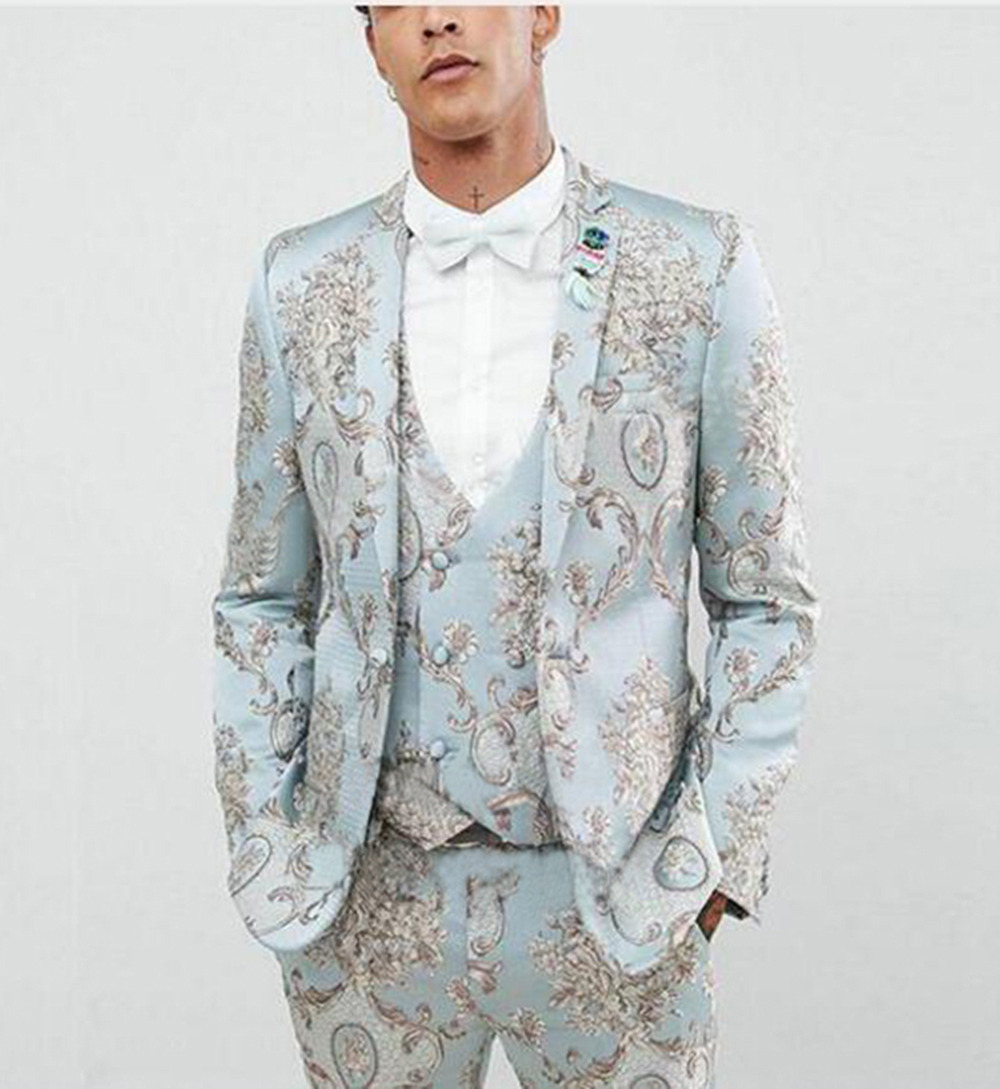 69c03f3f US $79.19 12% OFF|2019 Fashion Light Blue Mens Patterned Suit 3 Pieces  Casual Notch Lapel Tuxedos Groomsmen for Wedding/Party(Blazer+Vest+Pant)-in  ...