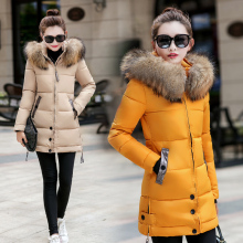 2016 winter coat Korean Women long sections Slim waist down padded jacket coat with fur collar A038