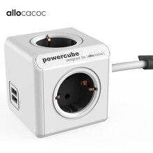 Allocacoc умный дом вилка электронный блок питания ЕС розетка Зарядка 2 USB 4 розетки стандартный разъем интерфейс расширение