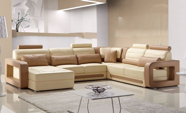 Comfortable Adjule Genuine Leather Recliner Sofa Set