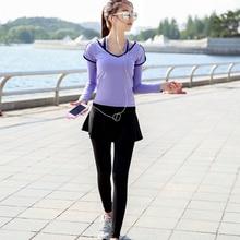 29987299a0 Women Fake Two Piece skirted leggings yoga Fitness Leggings Running Pants  fast dry Sportwear Elastic comfortable