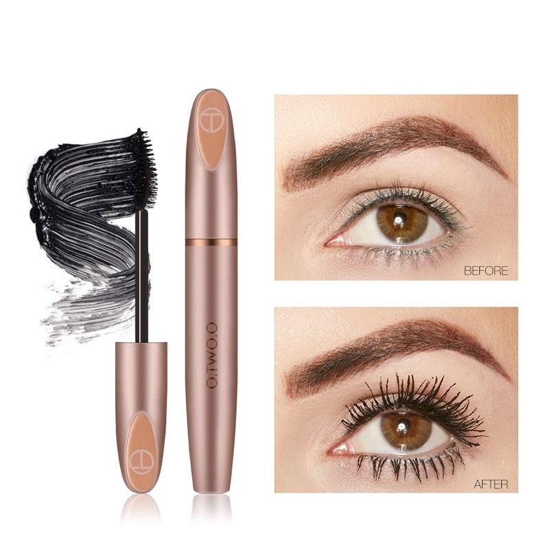 O TWO O 4 D Eyelash Mascara Silk Fiber Easy To Wear Waterproof Long Black Eyelash Extension Eye Lashes Brush Eyes Makeup in Mascara from Beauty Health