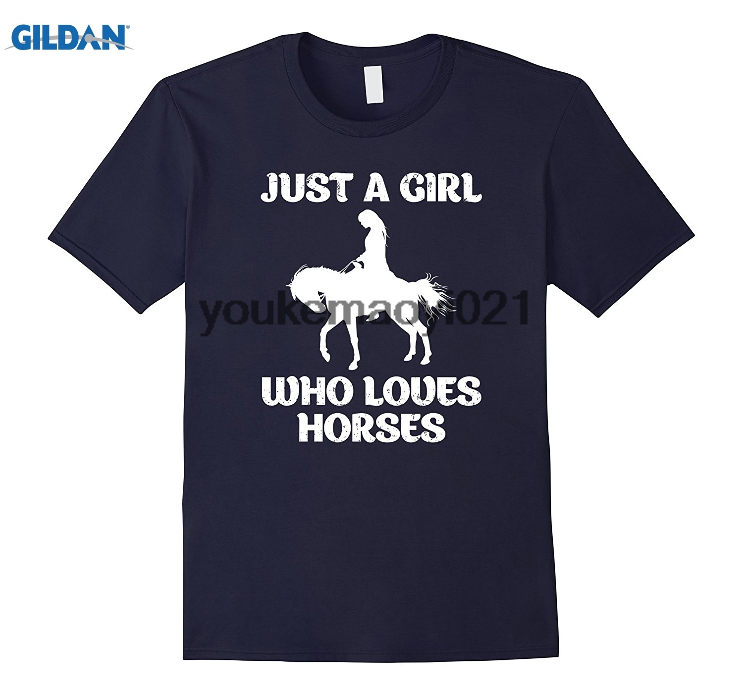 GILDAN Just A Girl Who Loves Horses Shirt Equestrian Riding T-Shirt ...