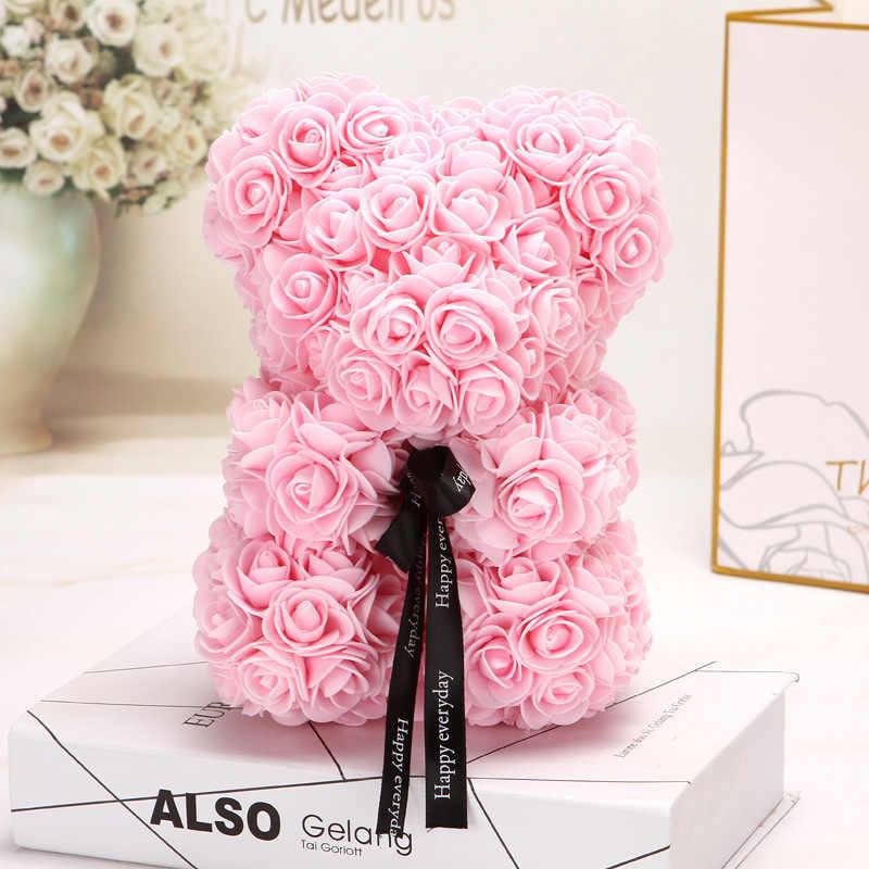 25 centimetri Fiori Artificiali Fiori di Rosa Orso Multicolore della Gomma Piuma della Rosa Teddy Bear Fidanzata di San Valentino Regalo di Giorno Di Compleanno Decorazione Del Partito