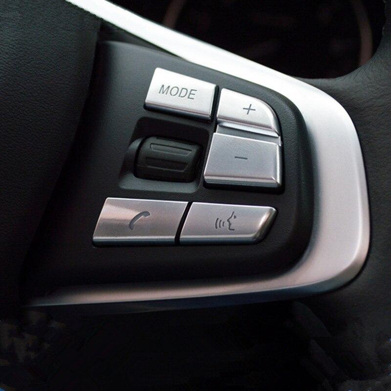 Chrome voiture style volant boutons couverture décorative autocollants garniture pour BMW X1 F48 2016 intérieur Auto accessoires