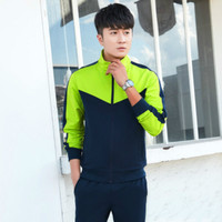 Хлопковый спортивный костюм Мужская мода с длинным рукавом комплект из 2 частей любителей тонких эластичность 2018 Летняя одежда плюс Размер