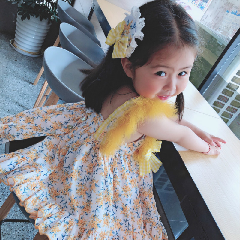 Summer New Arrivals Spanish Court Dress High Quality Feather Dress Kids Dresses for Girls Wedding Party Dress Panty+clip 3pcs