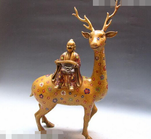 JP S1093 25INCH China Regius Pure Bronze Cloisonne Confucius Kong Zi Ride On Spotted Deer