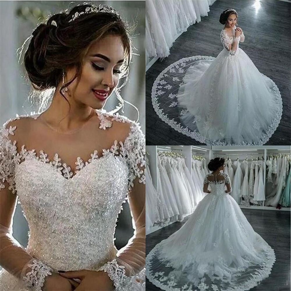 Sexy Illusion Wedding Dresses Full-length Court Train Zipper Empire Pearls Beading Appliques Empire Vestido Bridal Wedding Gowns