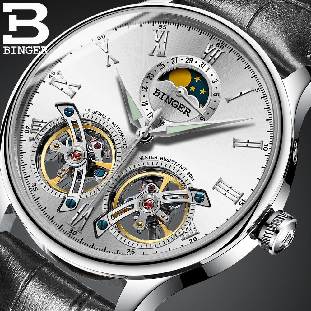 Double Tourbillon skeleton Watch Switzerland BINGER Business Men Mechanical Wristwatch Automatic Watch Black leather strap white