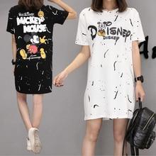 2019 Women Summer Mickey Dress Plus Size M-4XL Casual Loose Short Sleeve Cute Cartoon Mouse Streetwear O-neck Girl Dresse
