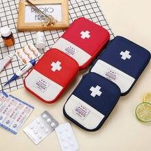 Mini kit de primeiros socorros, kit de primeiros socorros portátil de emergência para viagem, kit de medicamentos organizador de armazenamento