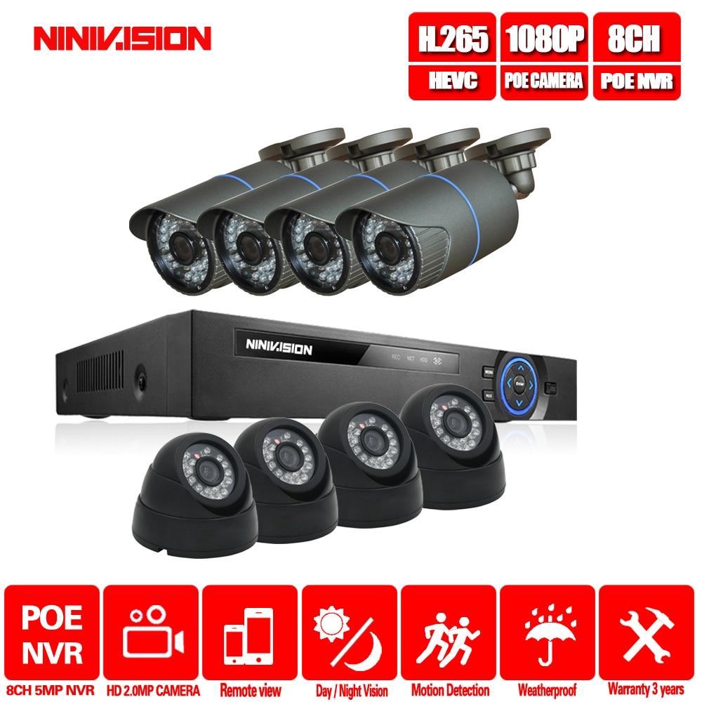 NINIVISION 48V 8 Channel PoE Kit Surveillance System PoE Camera 5.0MP CCTV System 8PCS 1080P PoE IP Camera +1PCS 8CH PoE NVR SETNINIVISION 48V 8 Channel PoE Kit Surveillance System PoE Camera 5.0MP CCTV System 8PCS 1080P PoE IP Camera +1PCS 8CH PoE NVR SET