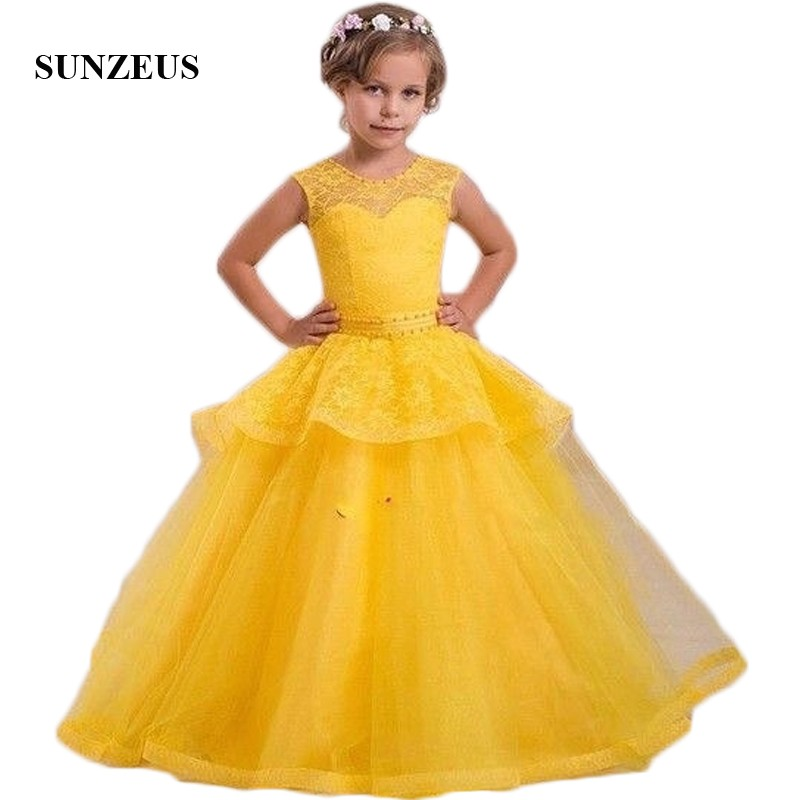 Yellow Lace   Girls   Pageant   Dresses   Long Pearls Neck Waist Attractive   Flower     Girls     Dresses   Peplum Children Party   Dress   Wear SF30