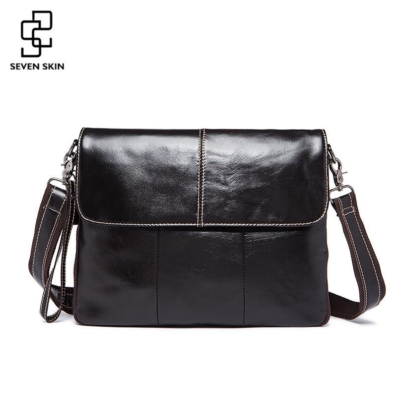 Genuine Leather Men Shoulder Bag Cowhide Vintage Business Messenger Crossbody