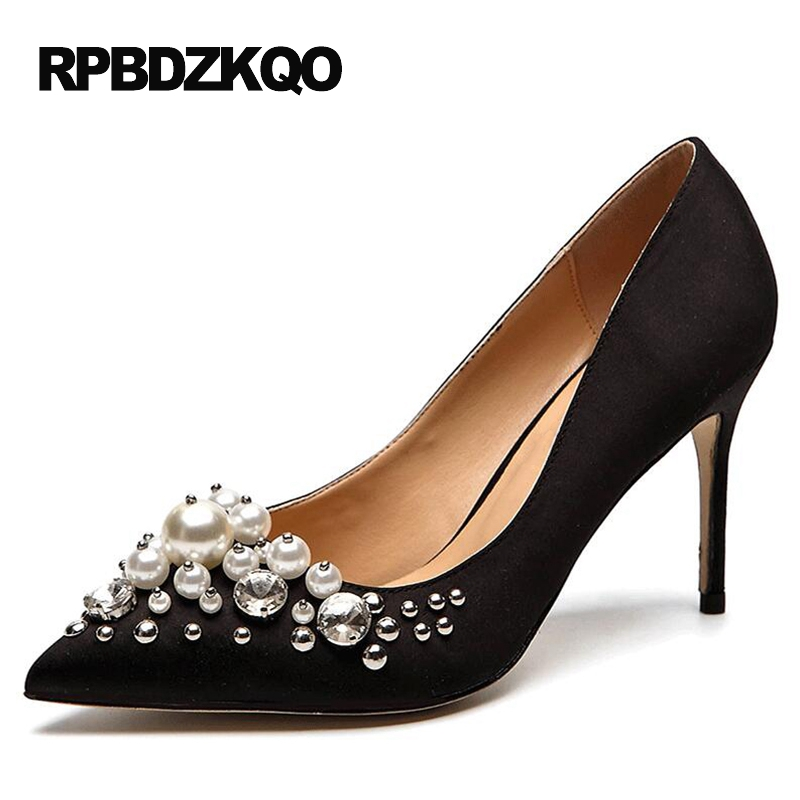 Black Closed Pumps 33 9 41 Pointed Toe 4 34 Small Size High Heels Shoes 8cm 3 Inch 6cm 2 Pearl 40 Satin Women Evening Plus Thin 4 34 small size gold shoes wedding pointed toe 7cm 3 inch satin high heels stiletto 33 flower pumps ladies colourful embroidery