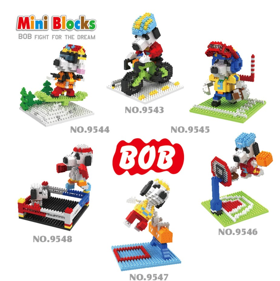 BOB Micro Blocks Sport Dog DIY Building Bricks Anime Figure Micro Blocks Cute Girls Present Kids Gifts Children TOYS 9543-9548