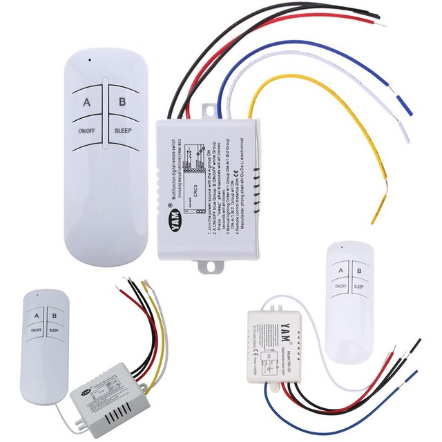 Wireless ON/OFF 1/2/3 Ways 220V Lamp Remote Control Switch Receiver Transmitter Controller Indoor Lamp Home Replacements Parts 1