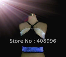 Sexy optical fiber luminous costume for performance/fashion dress/Show Clothing