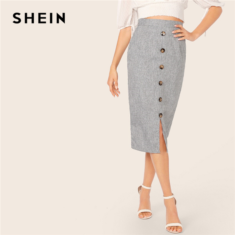 SHEIN Grey Button Front Slit Bodycon Pencil Long Skirt Spring Autumn Skirts Womens High Waist Solid Office Lady Elegant Skirt