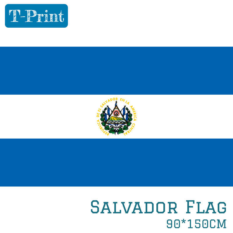 El Salvador National <font><b>Flag</b></font> <font><b>90x150cm</b></font> 60x90cm Polyester 3x5ft Banner of Salvador image