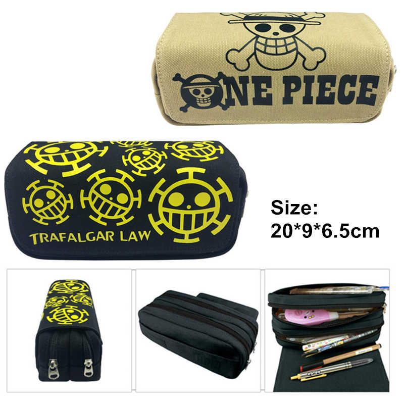 2 Colors One Piece Pen Case Anime Pencil Bags For Boy Double Zippers Hook Pencilcase School Canvas Stationery Kids Gifts 20cm