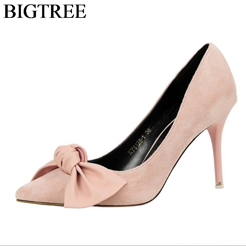 2017 Suede Stiletto Shoes Woman Fashion Sweet Bowtie Pointed Toe Women Party Shallow Mouth Thin High Heels Shoes 9.5cm Size35-39 fashion fashion rhinestone lace pointed toe bridal shoes shallow mouth thin heels shoes crystal wedding shoes women s shoes 7cm