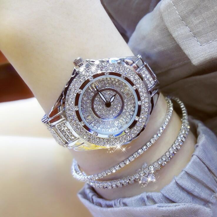 2019 Hot Sale Women Watches Lady Diamond Stone Dress Watch Gold Silver Stainless Steel Rhineston Wristwatch Female Crystal Watch 1