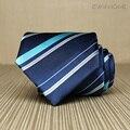2017 New Arrivals Alta Qualidade Homens Laço Negócio 8 cm Estilo Britânico Trabalho azul Nobre Gravata Listrada Gravata para Homens Gravata Caixa de Presente