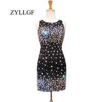 ZYLLGF блестящие черные платья для мам 2018 оболочка с круглым вырезом Кристаллы из бисера Sheer Вернуться Короткое свадебное платье гость RS73