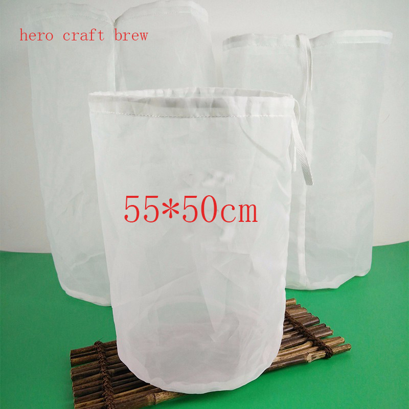 2017 Free Shiping 55*50cm Home Brew 10 Gallon Fine Mesh HOP BAGS BEER MAKING HOME BREWING FOOD GRADE Beer Filter Bar Accessory