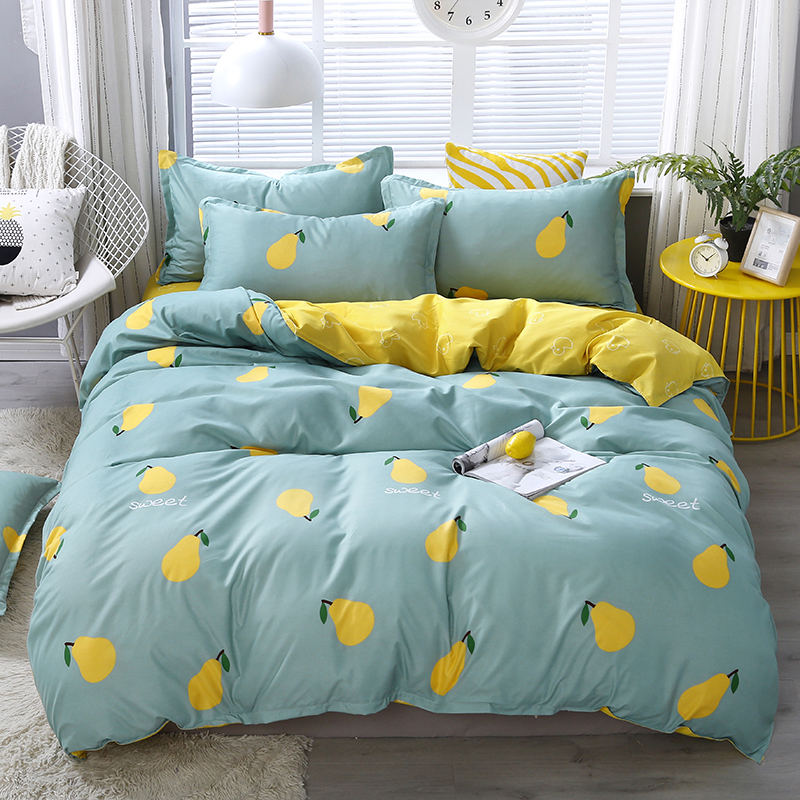 Cartoon Pears Bedding Sets Fruits Blue Yellow Duvet Cover Sets Twin Full Queen King Bed Sheet Bedclothes Kids Quilt Cover Sets