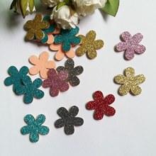 80PCS blandade färger 32mm Glitter Filt vadderade Applique Flower Filt Appliques för DIY Sömnad Supplies Barn Craft Accessory