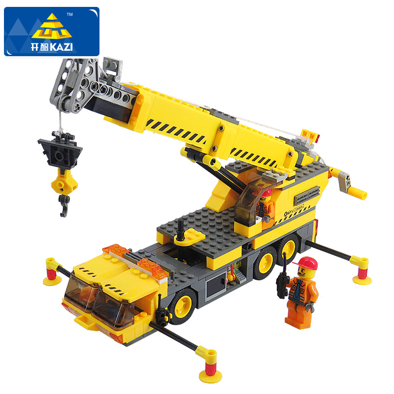 KAZI City Build Building Blocks 3D Crane Model Compatible LegoINGlys DIY Building Blocks 380+pcs Bricks Toys For Children enlighten 1118 building blocks ambulance model blocks 328 pcs diy bricks compatible legoa city building blocks toys for children