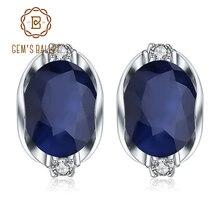 GEM'S балетные 925 пробы серебряные серьги-гвоздики 6.48Ct натуральные серьги с голубым сапфиром Для женщин обручальные ювелирные изделия бренд