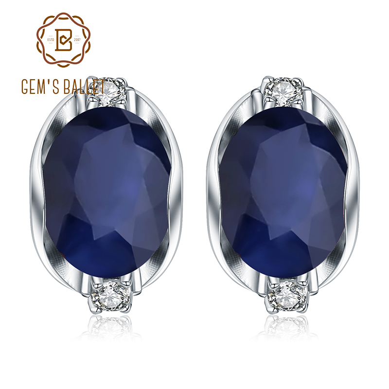 GEM'S BALLET 925 Sterling Silver Stud Earrings 6.48Ct Natural Blue Sapphire Earrings For Women Engagement  Jewelry New Brand-in Earrings from Jewelry & Accessories    1