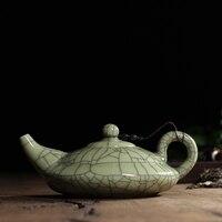 New Hot Sale Crackle Glaze Ge Kiln Longquan Celadon 300ml Zisha Ceramics Arts Flat Teapot Porcelain