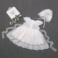 2019 Summer Baby Girl Dress Lace Christening Dress White Baptism Dress Party and Wedding Dress with Hat for Newborn Baby
