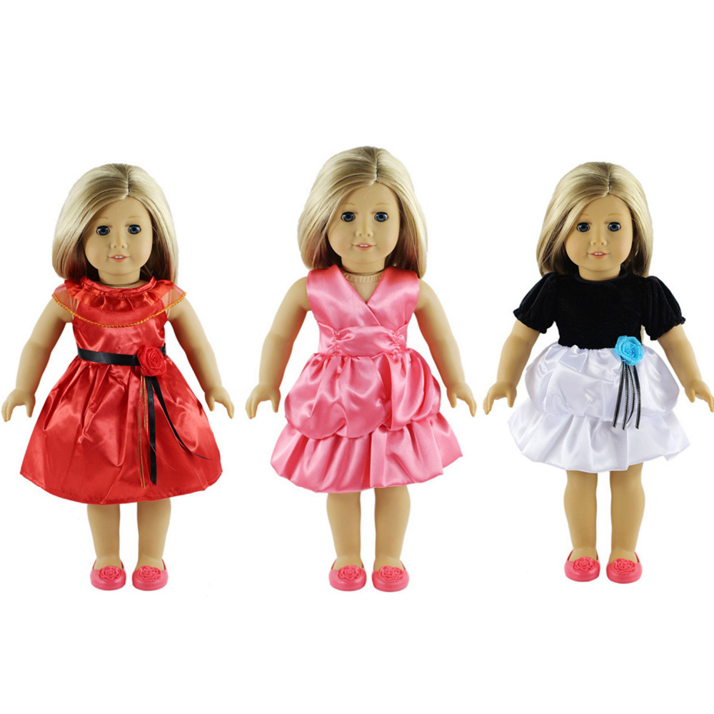 3pcs Doll Clothes Set Fits 18 inch American Girl Doll, Our Generation and Journey Girl Doll 9 colors american girl doll dress 18 inch doll clothes and accessories dresses