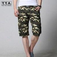 Summer Men Cargo Short Pants Big Pocket Slim Fit Straight Mens Shorts Camo Printed Large Size
